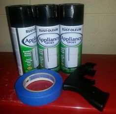 We Purchased 3 Cans Of Black Rustoleum Appliance Paint To Refinish Our Old Green Refrigerator