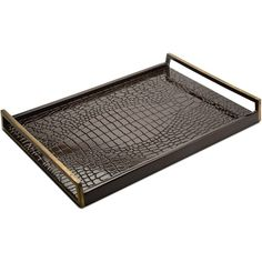 Irwin Hollywood Regency Brown Faux Crocodile Lacquer Wood Serving Tray ($423) ❤ liked on Polyvore