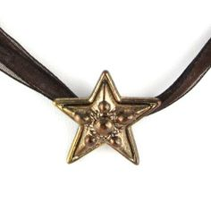 "Gold Star Button Style Pendant - Brown Ribbon Neckace w/ Silver Clasp Evolatree. $14.99. Pendant Size: 1"" x 1"". Necklace Size: 16"". Save 44%!"