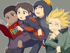 Clyde South Park, Craig South Park, Tweek South Park, South Park Anime, South Park Fanart, Stan Marsh, Anime Version, Park Art, Anime Kawaii