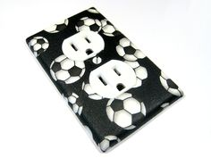 Children Decor Soccer Balls Outlet Cover by ModernSwitch on Etsy, $8.00