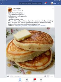 Anybody can add water to a boxed package mix, but you'll be glad you made these tender, light, buttery, and delicious pancakes from scratch! Old-Fashioned Pancakes Recipe - - Tasty Pancakes, Pancakes And Waffles, Best Homemade Pancakes, Banana Pancakes, Recipe For Fluffy Pancakes, Homemade Pancake Recipes, Homade Pancakes Recipe, Easy Pancake Recipe Without Milk, Desert Recipes