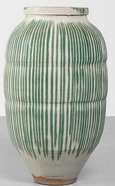 blueberrymodern: japanese stoneware water vessel, 1860