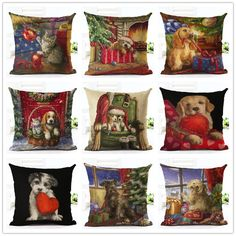 Cartoon Colorful Style Cute  Dog sled Print  Cushion Decor Cojines Seat Throw Pillow Printed Cotton Linen Square #Affiliate