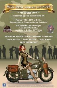 Chandler, AZ - Feb. 18, 2017: Wild West Roundup - Ride for Veterans. All proceeds support local Arizona Veterans.