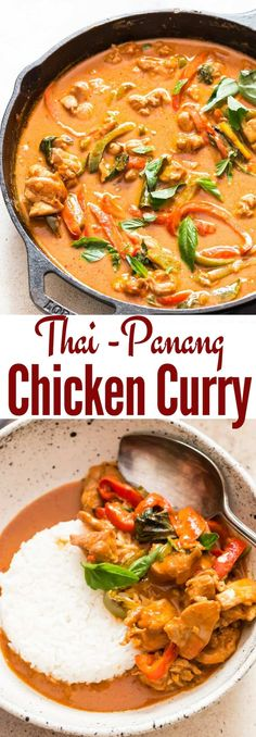 Thai chicken panang curry is a rich curry with complex flavors. You'll need under 30 minutes to make this bright and hearty Thai Panang Curry. Panang curry is a thick Thai curry with a sweet, salty and nutty peanut flavour. It's less spicy compared Thai Panang Curry, Panang Curry Chicken, Indian Food Recipes, Asian Recipes, Healthy Recipes, Ethnic Recipes, Easy Recipes, Beef Recipes, Healthy Food