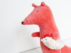 Fox with chicken stuffed toy pink koral plush toy by NataliBright, $30.00