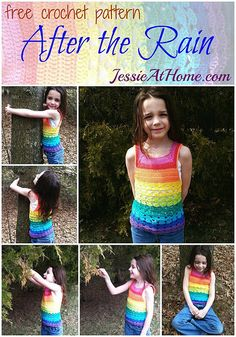 Girl's rainbow tank top free #crochet pattern by @jessie_athome