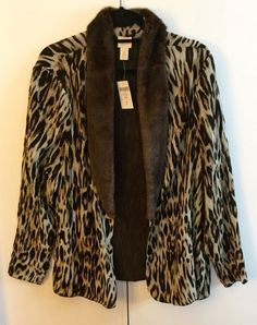 CHICOS SZ3  Leopard  Faux Fur Chiffon Cardigan Jacket Top Blouse NWT, Gorgeous!  #Chicos #BasicJacket