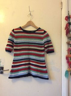 Topshop Knitted Crochet T-shirt Top Blouse Size 10 EUR 38 US 6