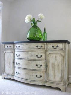 Vintage Antique French Country Design Hand Painted Shabby Chic Weathered  Rustic Buffet Sideboard Media Console