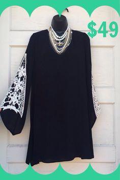 Classy Black Dress! Gorgeous lace inset sleeves! S-M-L. $49. (Runs slightly big)