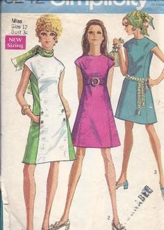 MOD 1960's Princess-Line Dress Pattern, Simplicity 8242, size 12 UNCUT