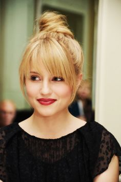 Loving the top knot on Dianna Agron! #redlipcrew #jointhecrew