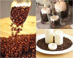 Tischdekorationen mit Kaffeebohnen und Kerzen