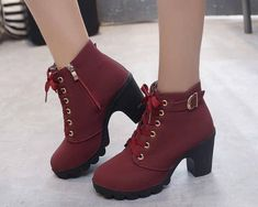 Lace Up Belted Accent Chunky Heel Ankle Boots Chunky Heel Ankle Boots, Platform Ankle Boots, Platform High Heels, High Heel Boots, Chunky Heels, Cute Sweater Outfits, Cheap Boots, Boot Types, Lace Up Shoes