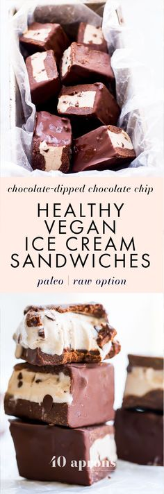 "These healthy vegan ice cream sandwiches are out of control! Chocolate chip ""nice cream"" sandwiched between two raw chocolate cookies, dipped in chocolate? These healthy vegan ice cream sandwiches are basically about to be your breakfast, lunch, and dinner... If you're looking for healthy paleo ice cream sandwiches, you've come to the right place, my friend!"