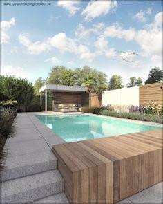 Pergola For Small Backyard Code: 1048809989 Patio Plans, Backyard Plan, Backyard Seating, Backyard Pool Designs, Modern Backyard, Swimming Pools Backyard, Swimming Pool Designs, Modern Garden Design, Contemporary Garden