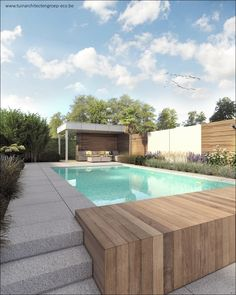 Tuinontwerp moderne tuin Temse : vakantiegevoel #Poolhouse #zwembad #tuinontwerp #tuinaanleg #tuin #tuinarchitect #Aalst #Modern