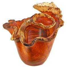 Afzelia Burl Vase  carved from burl wood - this has the wow factor !!