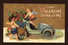 Valentine's Day Cupids Fill Car Trunk with Hearts Shamrocks Vintage Postcard   eBay