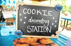 decorating station best part, life size cookie monster now just seems creepy.  hahaha