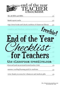 Check out our FREE classroom checklist for the end of the school year! There's also a blank checklist included with this freebie. #classroom #organization