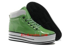 2013 Green Converse Platform All Star High Tops Shiny Leather Shoes