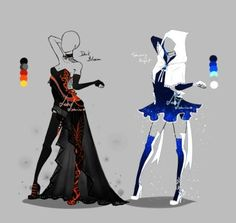 Outfit design - 219 - 220 - closed by LotusLumino on DeviantArt Dress Drawing, Drawing Clothes, Fashion Design Drawings, Fashion Sketches, Anime Outfits, Cool Outfits, Anime Dress, Character Outfits, Costume Design