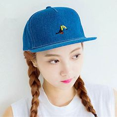 7cad67073f9 Fashion Parrot embroidered baseball cap blue jeans snapback caps for girls