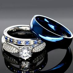 His And Hers 925 Sterling Silver Blue Saphire Stainless Steel Wedding Rings Set SP24BLMSBL