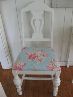 Turquoise Rose Fabric Chair-cabbage rose fabric, hand painted, hand painted white, hand painted and distressed, distressed white~via Cottage Flair