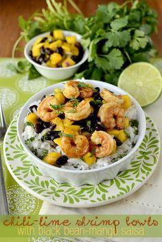 Chili-Lime Shrimp Bowls with Black Bean-Mango Salsa...this looks SO good!   (iowagirleats.com)