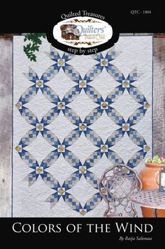 Colors of the Wind quilt pattern by Quilters' Treasure Chest . Star Quilt Blocks, Star Quilts, Scrappy Quilts, Colorful Quilts, Blue Quilts, White Quilts, Antique Quilts, Vintage Quilts, Arabesque