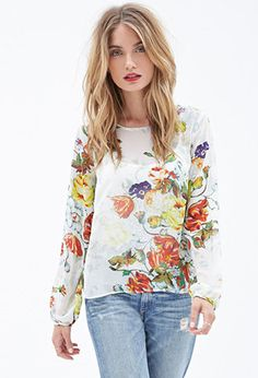 Watercolor Floral Chiffon Blouse   FOREVER21 - 2000121142