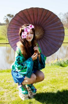 Beautiful Kimono Jacket and Oriental shoe designs by Scarlett Stewart Fashion