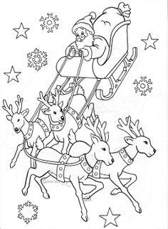 Santa Flying in His Sleigh Pulled by Reindeers at Night ...