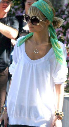 Nicole Richie - McQueen scarf, Chloe shades