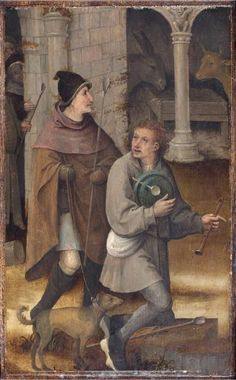 Two Shepherds. Left wing of a triptych, cut down on all sides, attributed to Hieronymus Bosch, Netherlandish, c. 1450 - Philadelphia Museum of Art Medieval Life, Medieval Fashion, Medieval Clothing, Medieval Art, Medieval Crafts, Renaissance, Hieronymus Bosch, Medieval Paintings, Late Middle Ages
