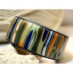 Polymer clay Cuff bracelet, stripe design, blue, green and gold stripe | Rivervalleydesign - Jewelry on ArtFire