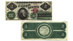 A 2 dollar Greenback United States Note, 1862. Source: Bebee Collection of the American Numismatic Association.