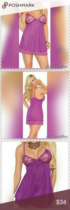 🆕PLUS Mesh 2 layered chemise underwired lingerie PLUS SIZE Sassy Purple mesh double layered chemise with lace underwire cups and adjustable straps.  Size(s): 1X, 2X, 3X, 4X , 5X (see size chart pic above) Also Available in sizes S-L, See other listing  Color(s): Dark Purple  Material(s): 95% Polyester, 5% Elasthan  Prices are FIRM unless bundled 💰 Bundle & Save 📦 Ships in ~48hrs Sexy SuperShero Intimates & Sleepwear Chemises & Slips
