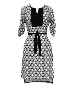 Loving this Black & White Geometric Three-Quarter Sleeve Dress on #zulily! #zulilyfinds