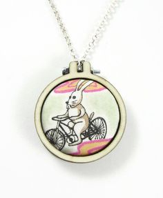 "Bicycle Bunny: Rare Grayson Perry ""Flo"" Liberty of London fabric mini embroidery loop pendant by ohyouhandsomedevil on Etsy"