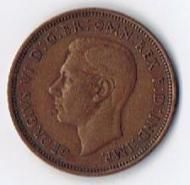 1942 George VI Great Britain Half Penny World Foreign Coin KM 844