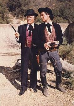 Gene Barry (TVs Bat Masterson) with Hugh O'Brian (TVs Wyatt Earp) - 1958