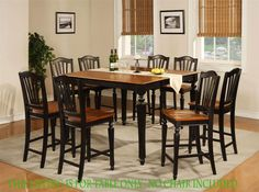 Square Dining Dinette Kitchen Counter Height Table Black U0026 Cherry Without  Chair