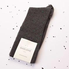 FW14 Granite socks - Anthracite #badelaine #paris #socks #chaussettes #wool #lurex #grey #green #madeinfrance #granite