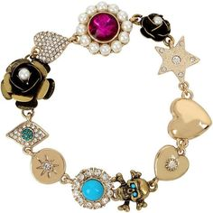 Betsey Johnson Mystic Baroque Queens Multi-Charm Bracelet ($48) via Polyvore featuring jewelry, bracelets, gold, yellow gold charm bracelet, gold bangles, betsey johnson, gold tone jewelry and charm bracelet