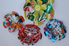 Cute pop can flowers - could be fun to put one on a gift that was someone's favorite kind of soda.